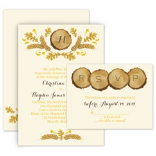 Rustic Details Ecru All in One Wedding Invitation