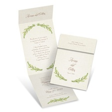 Leaves and Linen Wedding Invitation with Online Reply