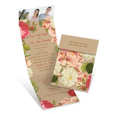 Vintage Floral Vintage Wedding Invitation with Online Reply
