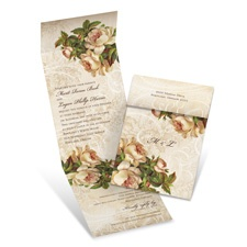 Beautifully Antique Brown Wedding Invitation with Online Reply
