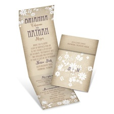 Country Charm Brown Wedding Invitation with Online Reply