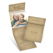 Burlap Love Brown Wedding Invitation with Online Reply