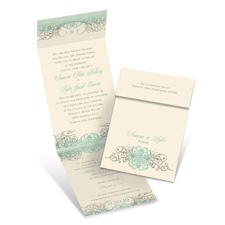 Beyond Beautiful Ecru Blue Wedding Invitation with Online Reply