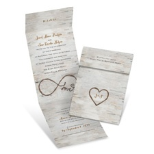 Birch Beauty Brown Wedding Invitation with Online Reply