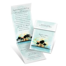 Watercolor Sunset Blue Wedding Invitation with Online Reply