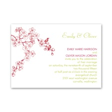 Birds in Cherry Blossoms Petite Wedding Invitation
