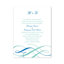 Swirls of Color Petite Blue Wedding Invitation