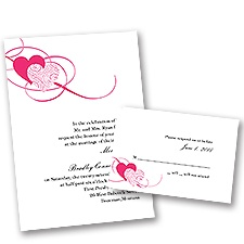 Close at Heart Lipstick Wedding Invitation with Free Response Card