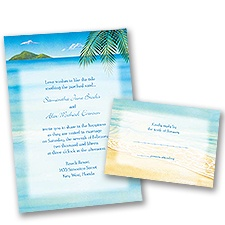 Ocean View Wedding Invitation with Free Response Card