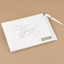 Silver Title Guest Book With Pen