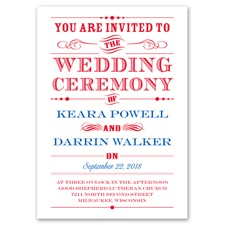 Typography on White Thermography Wedding Invitation