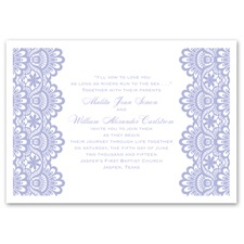 Luxurious Borders White Thermography Wedding Invitation