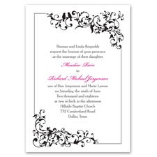 Filigree Perch Black Wedding Invitation