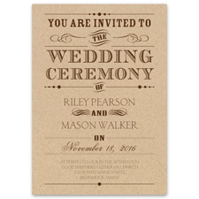 Typography on Kraft Brown Wedding Invitation
