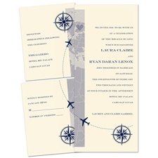 Destination Romance Ecru Separate and Send Wedding Invitation