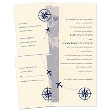 Destination Romance Ecru Separate and Send Wedding Invitation