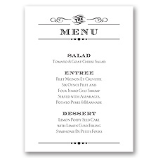 Typography on White - Menu Card