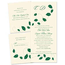 Autumn Breeze Ecru Separate and Send Brown Wedding Invitation