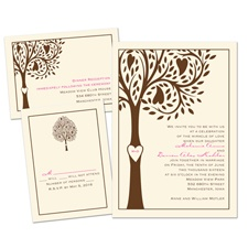Tree Love Ecru Separate and Send Wedding Invitation