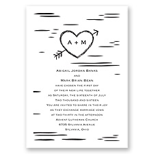 Sweetly Carved Thermography Wedding Invitation