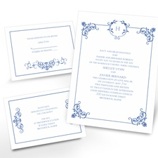 Beautiful Border Separate and Send Blue Wedding Invitation