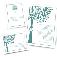 Tree Love Separate and Send Blue Wedding Invitation