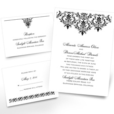 High Style Separate and Send Black Wedding Invitation