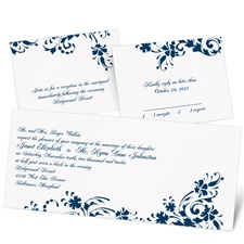 Floral Damask Separate and Send Wedding Invitation