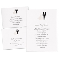 All Dressed Up Separate and Send Black Wedding Invitation
