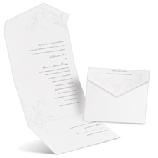 Pearl Flourish White Seal and Send Wedding Invitation