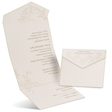 Pearl Flourish Ecru Seal and Send Wedding Invitation