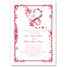 Feathered Heart Wedding Invitation