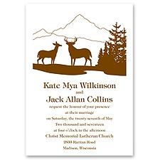 Deer Silhouettes Thermography Wedding Invitation