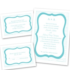 Wooden Crest Separate and Send Blue Wedding Invitation