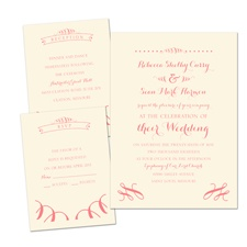Ribbon Curls Ecru Separate and Send Wedding Invitation