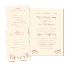 Ribbon Curls Ecru Separate and Send Wedding Invitation