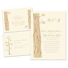 Woods and Whimsy Ecru Separate and Send Wedding Invitation