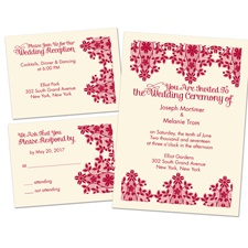 Lace Lining Ecru Separate and Send Wedding Invitation