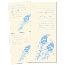 Love for Feathers Ecru Separate and Send Wedding Invitation