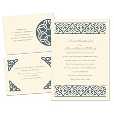 Celtic Bonds Ecru Separate and Send Wedding Invitation