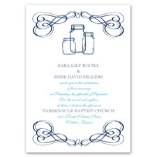Framed in Swirls Choose Your Design Blue Wedding Invitation