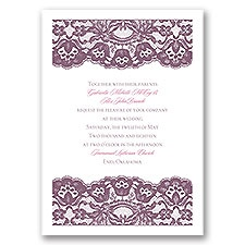 Dressed in Lace Thermography Wedding Invitation