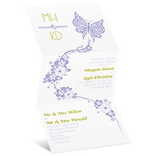 Flowers and Butterflies Wedding Invitation