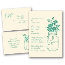 Country Love Ecru Separate and Send Wedding Invitation