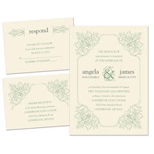 Ornate Details Ecru Separate and Send Wedding Invitation