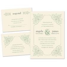 Ornate Details Ecru Separate and Send Elegant Wedding Invitation