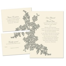 Floral Sketch Ecru Separate and Send Wedding Invitation