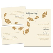 Lovely Leaves Ecru Separate and Send Wedding Invitation