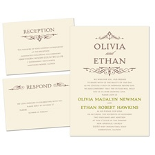 Simply Stylish Ecru Separate and Send Wedding Invitation