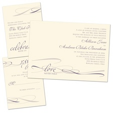 Everlasting Love Ecru Separate and Send Wedding Invitation